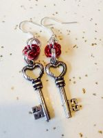 The Key to My Heart Chainmail Earrings by SpunkyArmadilloMail