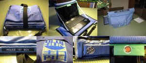 Stripey Blue Laptop Case by groundhog22