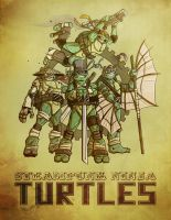 Steampunk Ninja Turtles by wileyillustration