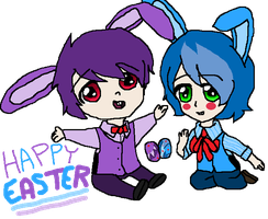 Bonnie and Toy Bonnie Happy Easter~! by LuluShy152