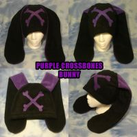 Purple Crossbones Bunny Hat by HatcoreHats