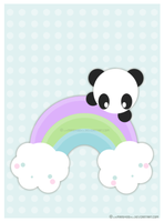 Panda on a Rainbow by xXMandy20Xx