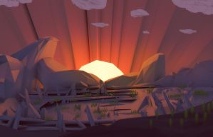 When The Sun comes down ( low poly style ) by brainchilds
