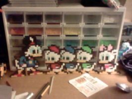 Perler Scrooge, Nephews, and Webby by YoshiAngemon