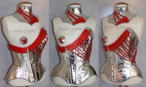 sylver leather corset and neck collar by AtelierSylpheCorsets