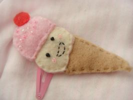 ice cream cone hair clip by ElizabethKathryn
