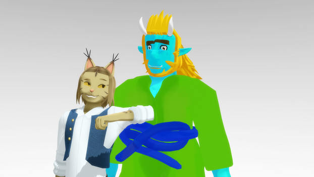 [MMD] Bobcat and Oni by GJYYNGII