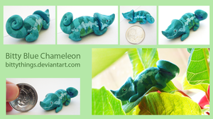 Bitty Blue Chameleon by Bittythings
