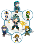 Assorted Chibis - AU Hexafusion 7 by Dragon-FangX