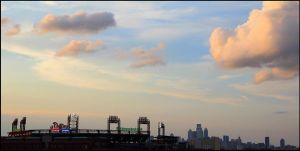 Philly Ballpark under saturated sky. by smirkyface