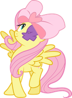 Fluttershy with a cute ribbon and an eyepatch by Tehwatever