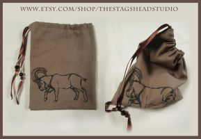 Brown Goat/Capricorn Dice, Tarot, Runes etc. Pouch by ImogenSmid