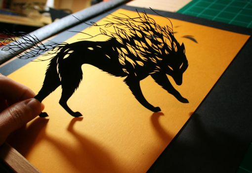 Wolf PAPER CUTTING by Snowboardleopard