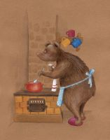 Bear Mom Is Cooking Porridge by asiapasek