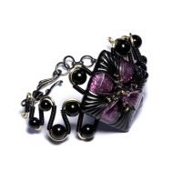 Black and Pink bracelet by CatherinetteRings