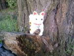 another Maneki neko by a tree by Desana2k7