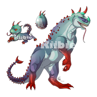 Monster egg 4, Hatched Lezikerus by Kiibie-Adopt