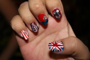 union jack red white and blue nails by Agathanaomi