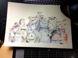 Monsters University // Colour Pencil Drawing by KJVtheBeast