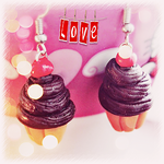 Cherry Chocolate Cupcake Earrings (+ Giveaway) by Cateaclysmic