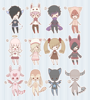 Tiny Striped Chibi Adopts [CLOSED] by XAngelFeatherX