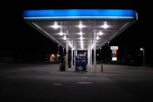 Gas Station Pumps at Night 2 by FantasyStock