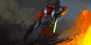 // Jedi in fire // by Velocrypt