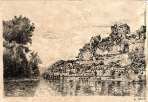 The Dordogne river and Beynac old paper by nicolasjolly