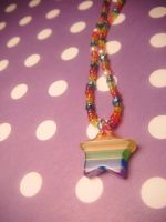 rainbow star necklace by leggsXisXawsome