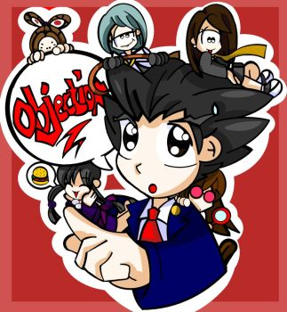 Phoenix Wright Chibi Attack by bchan