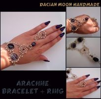 Arachne (bracelet + ring) by NessaSilverwolf