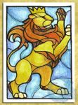 ACEO-ATC: Crowned Lion by crocodiledreams