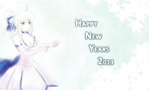 Happy New Years 2013 from Saber by kuroi-kenshi