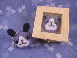Purple Bunny Keychain with box by AmiTownCreatures