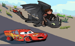Toothless vs lighting mcqueen race off by kingfret
