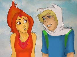 Finn and Flame Princess by caligrl7072
