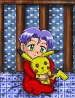 Cute baby James with pikachu plushie by Jezrocket
