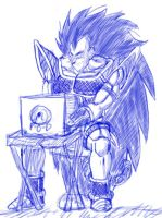 Raditz on PoD's laptop and chair. by Paradise-of-Darkness