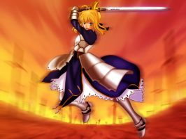 Ultimate Blade Works Saber by miro222