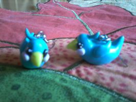 Hand Made Polymer Clay Blue Bird Earrings by kkperson