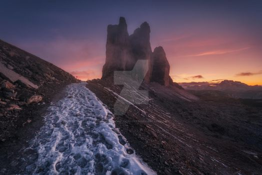 Northern wall Tre Cime di Lavaredo at sunset. by naumenkophotographer