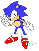 Sonic in classic pose by sonicman88