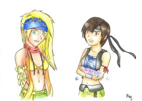 Crossover ff7/ff10x2 - Yuffie and Rikku by rea-drawingzone