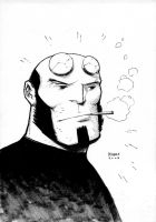 GenConOz Sketch - Hellboy by FlowComa