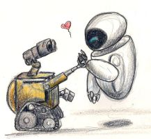 Wall-e Eve Sketchiness by silvermoonnw