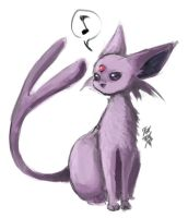 Sketch: Espeon by SchizoCheese