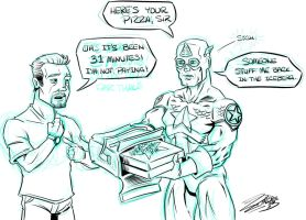 Captain America and a Pizza by ZZoMBiEXIII