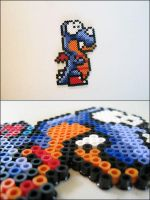 Super Mario World Rex (standing) bead sprite by 8bitcraft