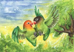 Lovebirds ACEO by kiriOkami