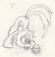 Derpy and Her Muffin by ceramicpony